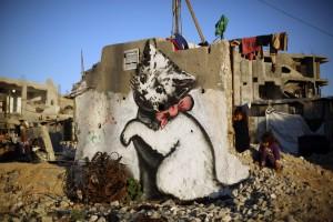 PALESTINIAN-ISRAEL-ART-BANKSY-GAZA