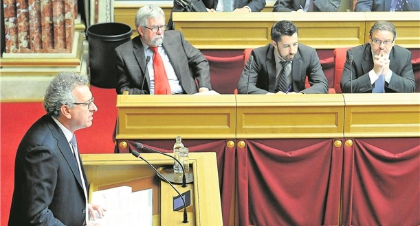 Pierre Gramegna, lors de la présentation du projet concernant le budget et les recettes de l'État, le 14 octobre. (photo archives LQ)