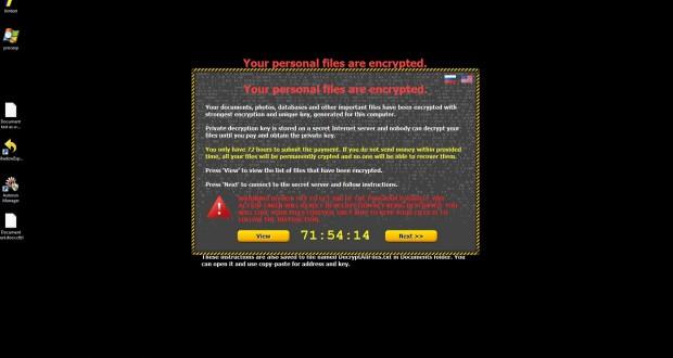 Exemple d'un ordinateur pris en otage, avec rançon exigée. (illustration DR)