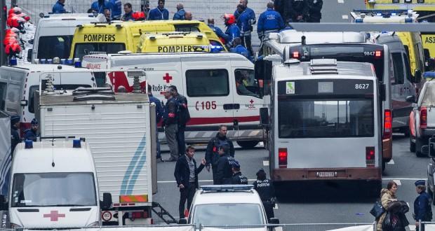 À Bruxelles, une double explosion à l'aéroport de Zaventem et une explosion dans la station de métro de Maelbeek ont fait plusieurs dizaines de morts, selon les chiffres officiels. (Photo : AFP)