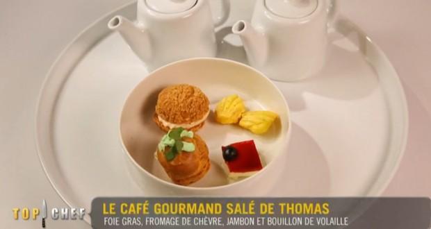 Le café gourmand salé de Thomas : ce trompe-l'œil a visuellement séduit les chefs, mais les goûts étaient déséquilibrés. Suffisant malgré tout pour se qualifier. (capture vidéo M6)