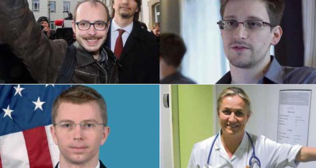 De g. à d. et de h. en b. : les lanceurs d'alerte Antoine Deltour (LuxLeaks), Edward Snowden (écoutes de la NSA), Bradley Manning (câbles diplomatiques américains) et Irène Frachon (Mediator et industrie pharmaceutique).