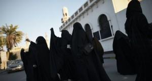 Des femmes manifestent dans le village de Daih, au Bahreïn, le 4 janvier 2016, après l'exécution du dignitaire et opposant chiite Nimr al-Nimr par les autorités saoudiennes. (Photo : AFP)