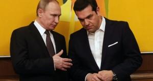 Le Premier ministre grec Alexis Tsipras (D) avec le président russe Vladimir Poutine, à Athènes, le 27 mai 2016. (Photo : AFP)