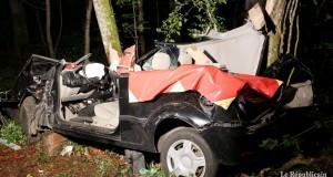 La voiture du Longovicien de 29 ans a terminé sa course contre un arbre. (Photo : RL)