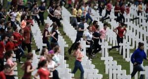 Lors des cérémonies de commémoration du centenaire de la bataille de Verdun, dimanche. (photo AFP)