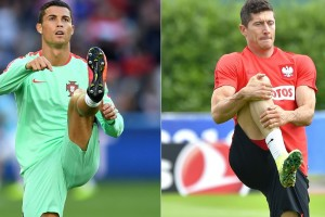 Le Portugal de Ronaldo fera face à la Pologne de Robert Lewandowski, pour ce premier choc des quarts de finale. (Photos AFP)