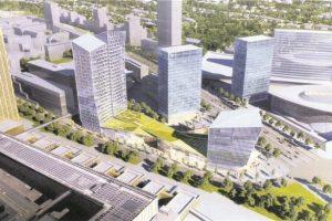 Entre les trois futures nouvelles tours du projet «Porte de l'Europe», un immense îlot urbain accueillera un centre commercial : Infinity Shopping. (Illustration : Fonds Kirchberg)