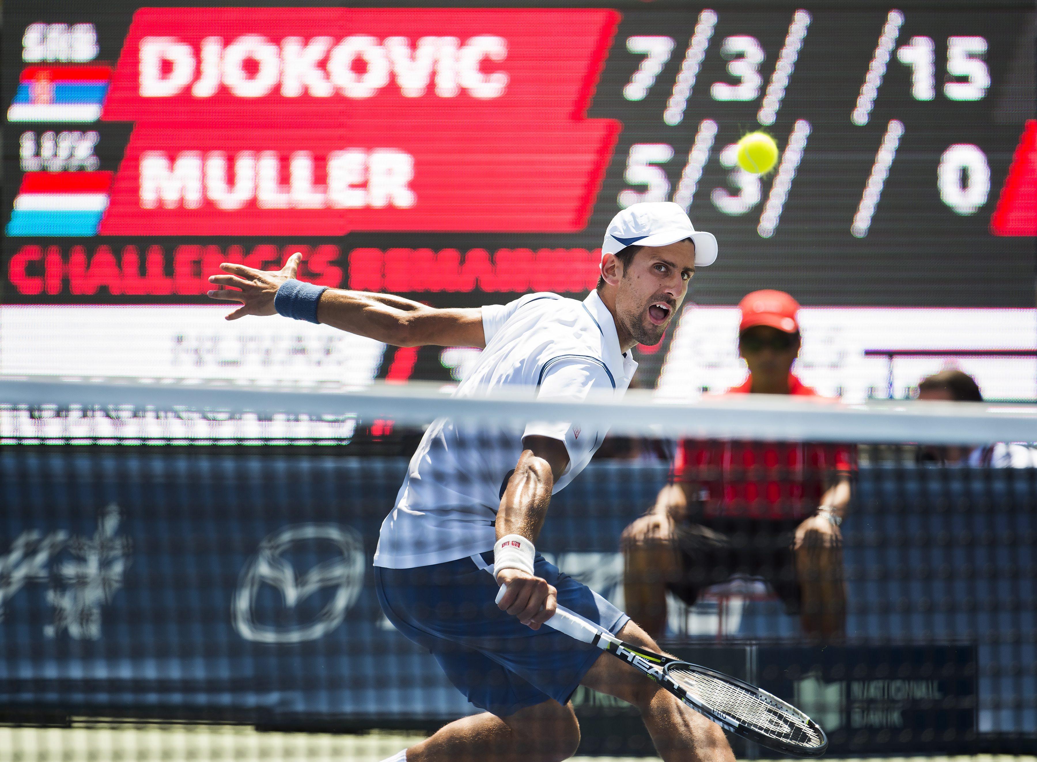 Absent des courts depuis Wimbledon, Novak Djokovic a dû batailler pour écarter de sa route le n° 1 luxembourgeois. (photo AP)
