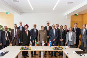 Michel Wurth, président du conseil d'administration de Paul Wurth, et Georges Rassel, directeur général, ont reçu la délégation indienne de hauts dignitaires. (photo Paul Wurth SA)