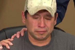 """""""Je veux des réponses"""", a répété en pleurs David Tait Jr., l'une des deux victimes de cette erreur. (Capture vidéo Twitter @brycehoye)"""
