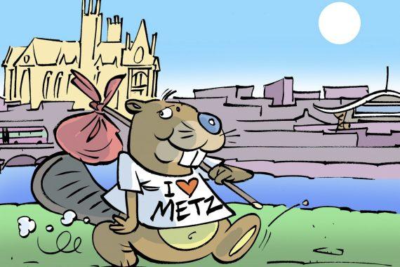 Le castor sorti de l'imagination de l'illustrateur Régis Hector l'affirme : I love Metz. (dessin Régis Hector)