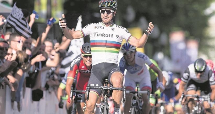 Une arrivée à Longwy couronnerait sans doute un coureur l'actuel champion du monde, l'inimitable Peter Sagan... (photo AP)