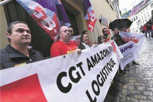 Les syndicalistes demandent à Amazon de meilleurs salaires et des conditions de travail décentes. (Photo Isabella Finzi)